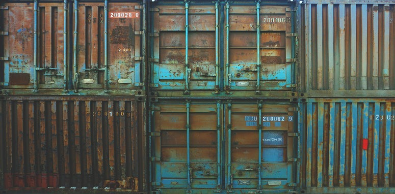 rusted shipping containers
