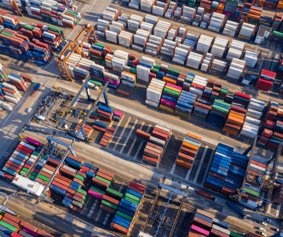 aerial shot of containers