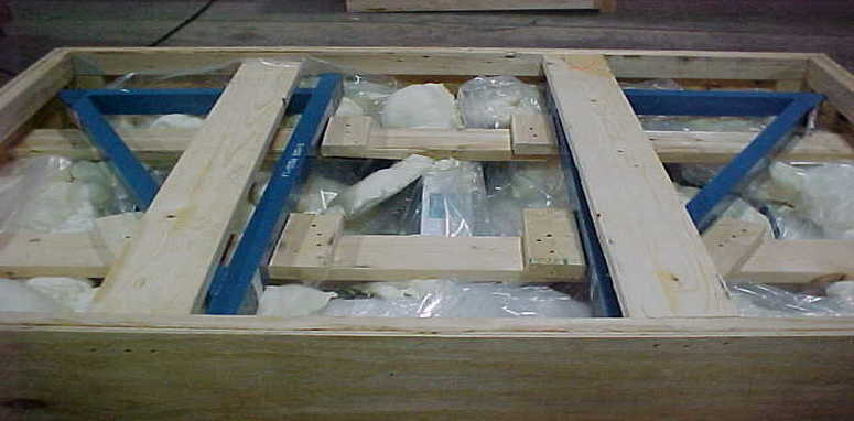 inside shipping crate