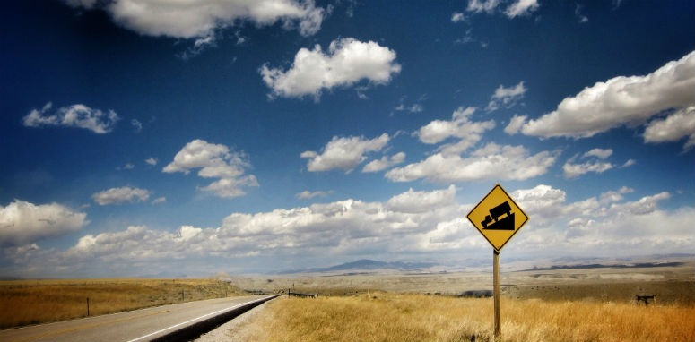 open road with blue sky