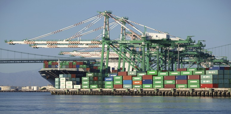 Los Angeles, California, USA - September 25, 2010: Busy cargo container berth in the congested Los Angeles Harbor.