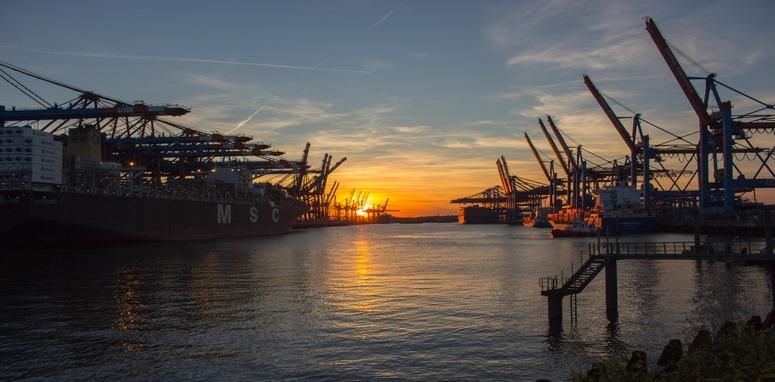 shipping yard at sunset