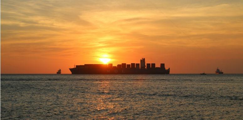 ship at sun set