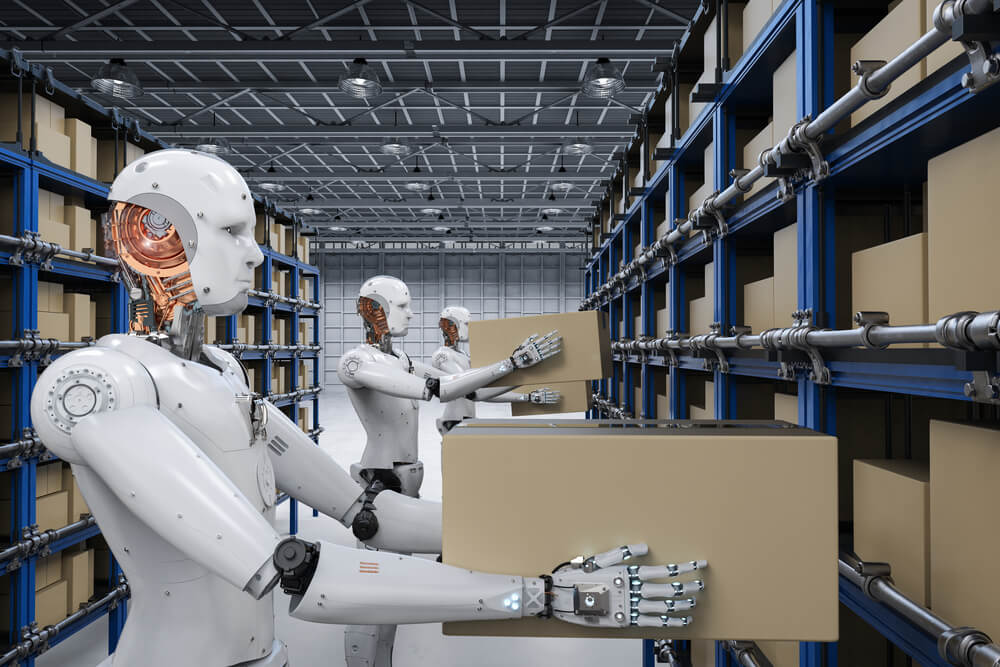 robots holding boxes