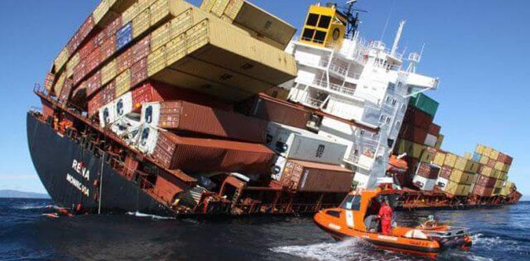 shipping boat falling in water