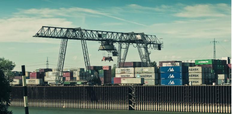 shipping yard with crane